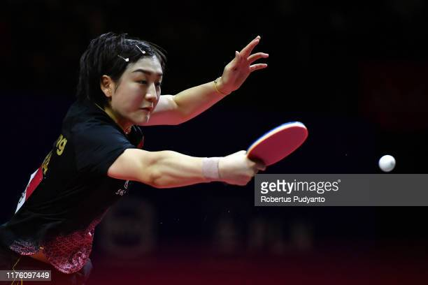Chen Meng of China competes against Liu Shiwen of China during Women's Singles semi-finals match on day seven of the ITTF-Asian Table Tennis...