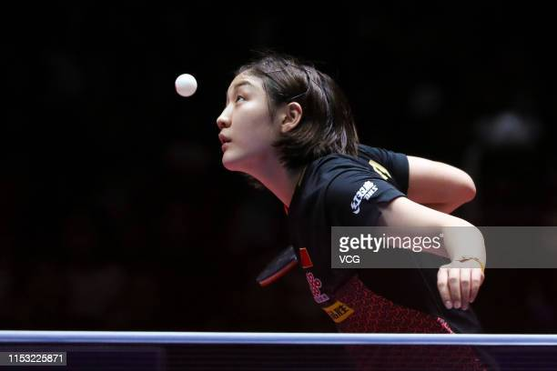 Chen Meng of China competes in the Women's Singles final match against Wang Manyu of China on day six of the Seamaster 2019 ITTF World Tour Platinum...