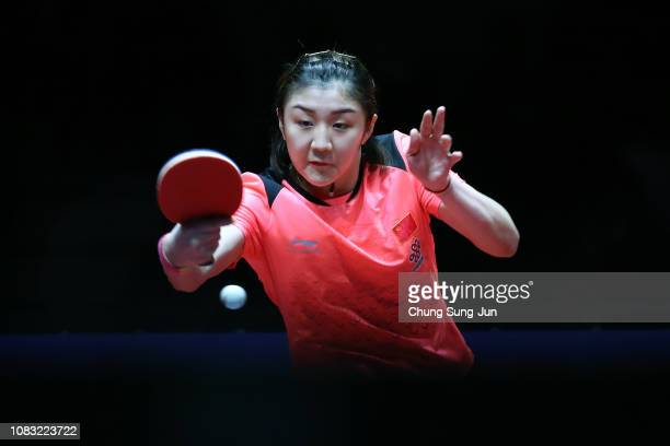 Chen Meng of China competes in the Women's Singles Finals against He Zhuojia of China during day four of the World Tour Grand Finals at Namdong...