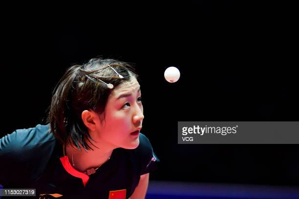 Chen Meng of China competes in the Women's Singles quarterfinal match against Chen Xingtong of China on day five of the Seamaster 2019 ITTF World...