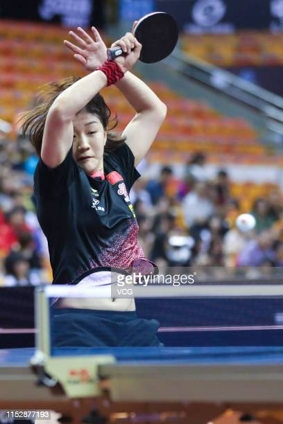 Chen Meng of China competes in the Women's Singles Round of 16 match against Kim Song I of North Korea during day four of the Seamaster 2019 ITTF...