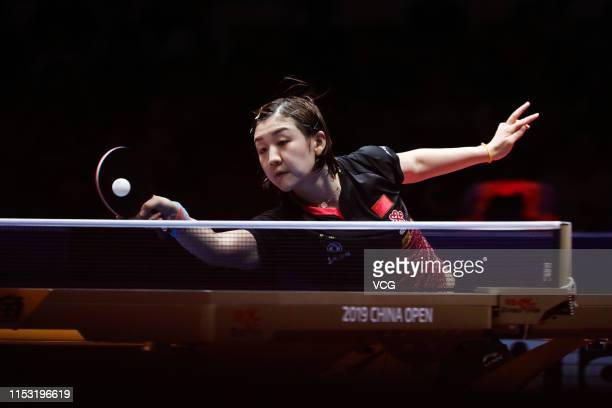 Chen Meng of China competes in the Women's Singles semifinal match against Zhu Yuling of China on day six of the Seamaster 2019 ITTF World Tour...