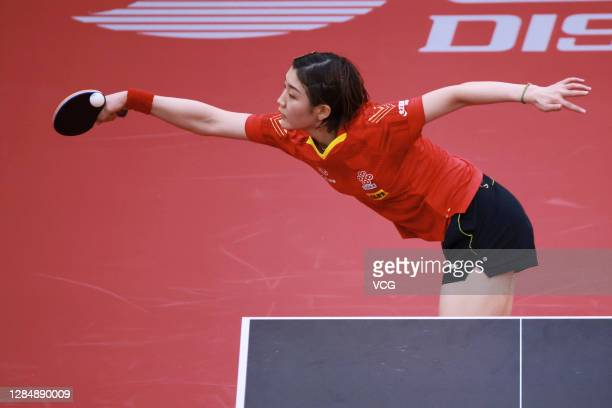 Chen Meng of China competes in the Women's Singles semi-final match against Han Ying of Germany on day three of the 2020 ITTF Women's World Cup at...