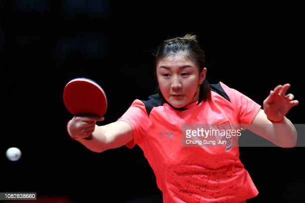 Chen Meng of China competes in the Women's Singles - Semifinals against Zhu Yuling of China during day three of the World Tour Grand Finals at...