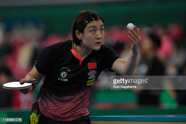 Chen Meng of China copmpetes against Anna Gaponova of Ukraine during Women's Teams sinngles - Group A - Match 2on day one of the ITTF Team World Cup,...
