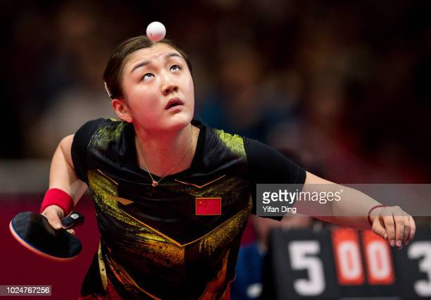 Chen Meng of China in action during Women's Table Tennis Team Final between DPR Korea and China on day ten of the Asian Games on August 28, 2018 in...