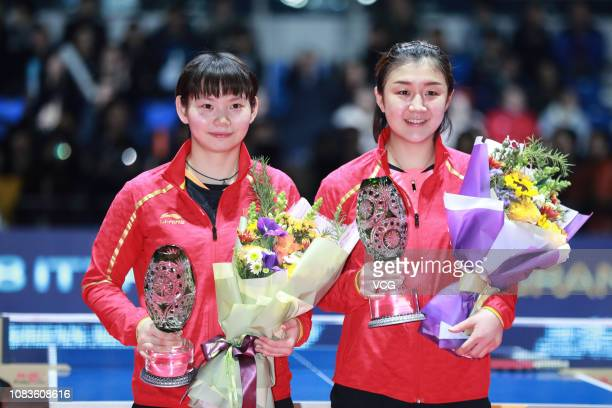 Chen Meng of China poses after winning the Women's Singles Finals match against He Zhuojia of China during day four of the 2018 ITTF World Tour Grand...