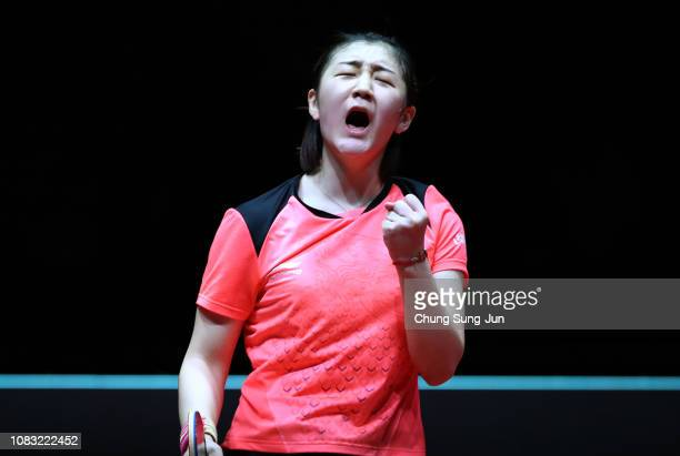 Chen Meng of China reacts after winning the Women's Singles Finals against He Zhuojia of China during day four of the World Tour Grand Finals at...