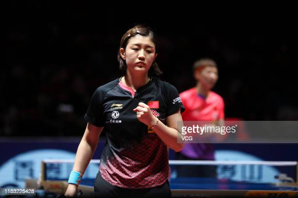 Chen Meng of China reacts in the Women's Singles final match against Wang Manyu of China on day six of the Seamaster 2019 ITTF World Tour Platinum...