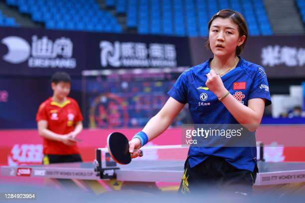 Chen Meng of China reacts in the Women's Singles final match against Sun Yingsha of China on day three of the 2020 ITTF Women's World Cup at Weihai...