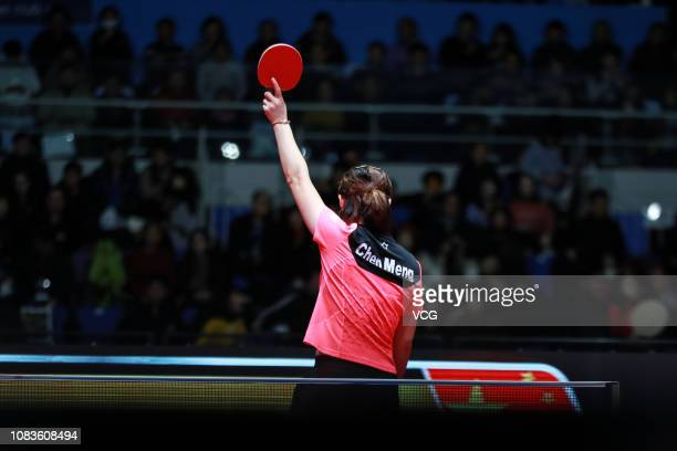Chen Meng of China reacts in the Women's Singles Finals match against He Zhuojia of China during day four of the 2018 ITTF World Tour Grand Finals at...