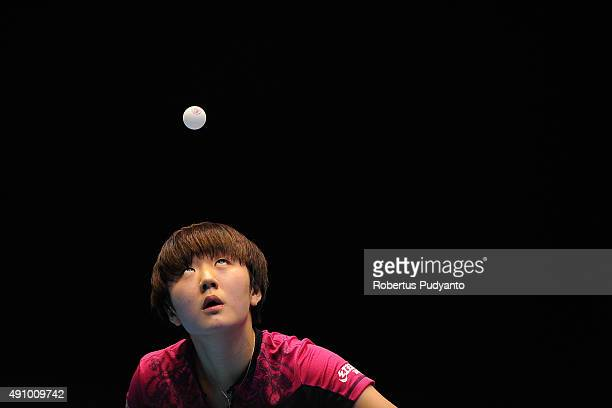 Chen Meng of China serves against Zhu Yuling of China during Women's singles final match of the 22nd 2015 ITTF Asian Table Tennis Championships at...