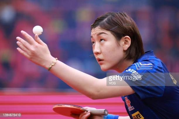 Chen Meng of China serves in the Women's Singles Round of 16 match against Bernadette Szocs of Romania on day two of the 2020 ITTF Women's World Cup...