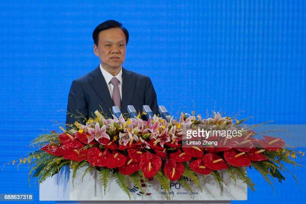 Chen Min'er Chinese Communist Party Secretary of Guizhou Province speaks during the 2017 China International Big Data Industry Expo opening ceremony...