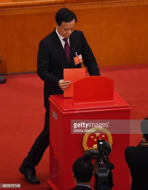 Chen Miner Communist Party Secretary of Chongqing votes during the fifth plenary session of the first session of the 13th National People's Congress...