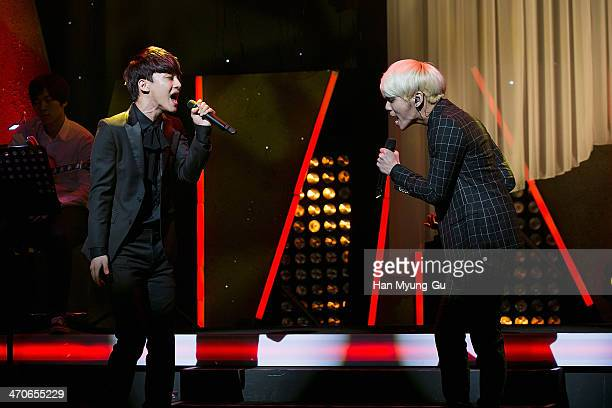 Chen of boy band EXOM and Jonghyun of South Korean boy band SHINee perform onstage the SM Entertainment The Ballad Vol2 Joint Recital at COEX on...