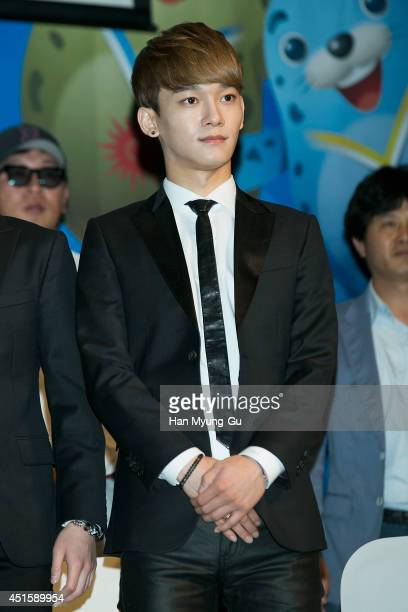 Chen of boy band EXOM attends the press conference for the 17th Asian Games Incheon 2014 on July 1 2014 in Seoul South Korea