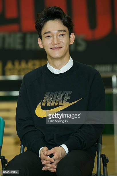 Chen of boy band EXOM attends the press rehearsal for the musical 'In The Heights' on August 19 2015 in Seoul South Korea The musical will open on...