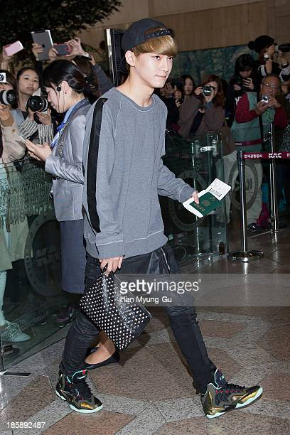 Chen of boy band EXOM is seen on departure at Gimpo International Airport on October 25 in Seoul South Korea