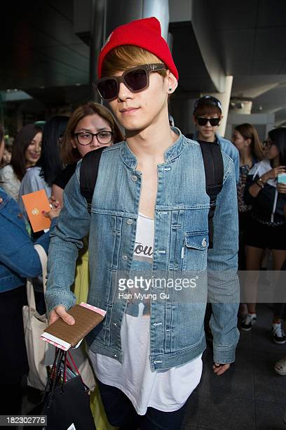 Chen of boy band EXOM is seen upon arrival at Incheon International Airport on September 27 2013 in Incheon South Korea
