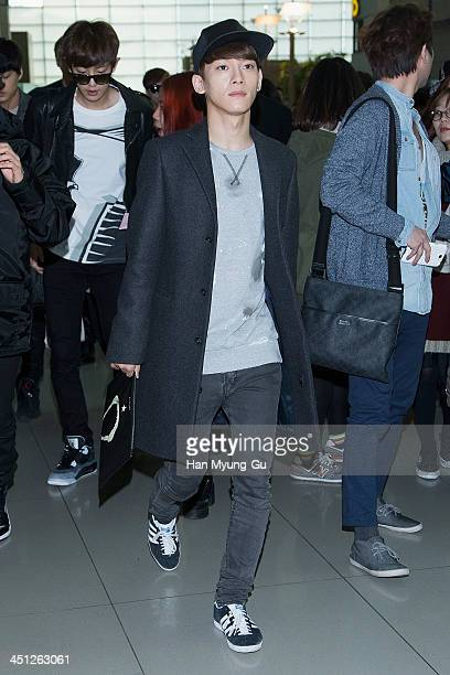 Chen of leading boy band EXOM is seen on departure at Incheon International Airport on November 21 2013 in Incheon South Korea