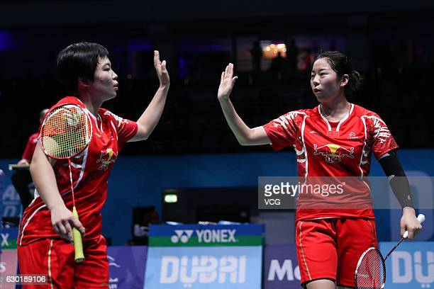 Chen Qingchen and Jia Yifan of China compete during women's doubles final match against Ayaka Takahashi and Misaki Matsutomo of Japan on Day 5 of the...