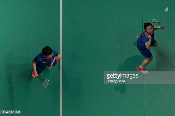 Chen Qingchen and Jia Yifan of China in action on day six of the Badminton Malaysia Open at Axiata Arena on April 07 2019 in Kuala Lumpur Malaysia