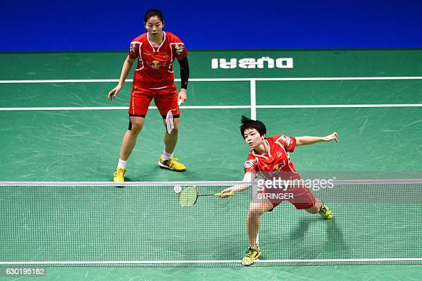 Chen Qingchen and Jia Yifan of China play against Misaki Matsutomo and Ayaka Takahashi of Japan during their women's doubles final match on the 5th...