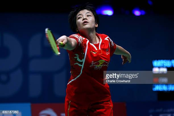 Chen Qingchen of China in action during the women's doubles final match against Ayaka Takahashi and Misaki Matsutomo of Japan on Day Five of the BWF...