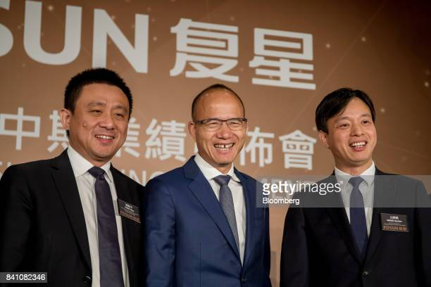 Chen Qiyu copresident of Fosun International Ltd from left billionaire Guo Guangchang chairman and cofounder and Wang Qunbin chief executive officer...
