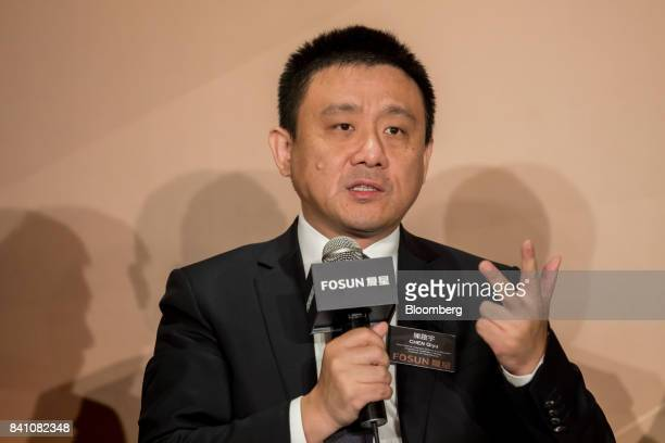 Chen Qiyu copresident of Fosun International Ltd speaks during a news conference in Hong Kong China on Thursday Aug 31 2017 Fosun the listed flagship...