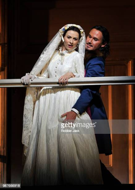 Chen Reiss as Zerlina and Mariusz Kwiecien as Don Giovanni in the Royal Opera's production of Wolfgang Amadeus Mozart's Don Giovanni directed by...