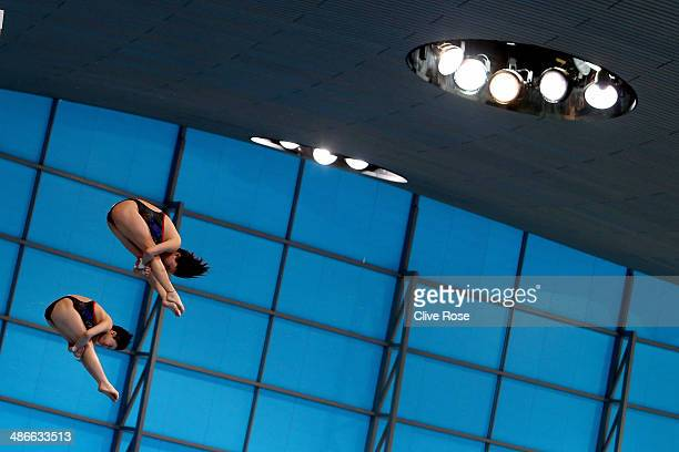 Chen Ruolin and Liu Huixia of China compete in the Women's 10m Synchro Platform Final during day one of the FINA/NVC Diving World Series at the...