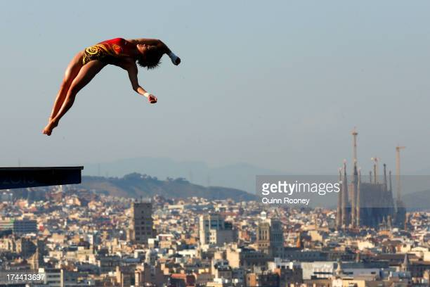 Chen Ruolin of China competes in the Women's 10m Platform Diving final on day six of the 15th FINA World Championships at Piscina Municipal de...