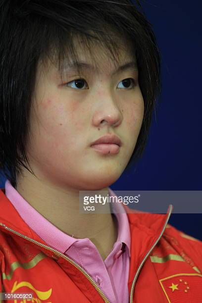 Chen Ruolin of China looks on during the 2010 FINA Diving World Cup on June 3 2010 in Changzhou Jiangsu province of China