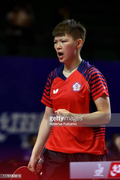 Chen Szu Yu of Chinese Taipei competes against Miu Hirano of Japan during day three of the ITTFAsian Table Tennis Championships at Among Raga Stadium...