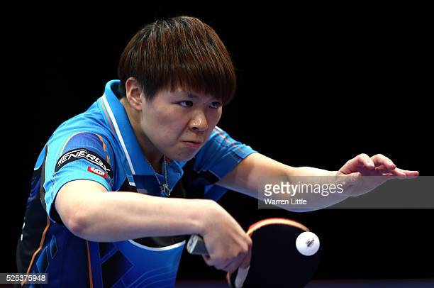 Chen SzuYu of Chinese Taipai in action against Feng Tianwei of Singapore during day one of the Nakheel Table Tennis Asian Cup 2016 at Dubai World...
