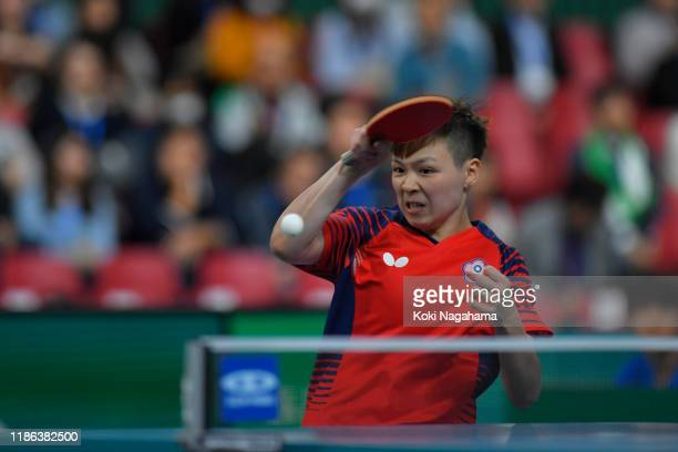 Chen SzuYu of Chinese Taipei competes against Soo Wai Yam Minnie of Hong Kong China during Women's Teams singles Quarterfinals Match 2 on day three...