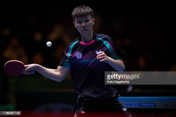 Chen SzuYu of Chinese Taipei competes againstDing Ning of China during Women's Teams Semifinals singles Match 1 on day four of the ITTF Team World...
