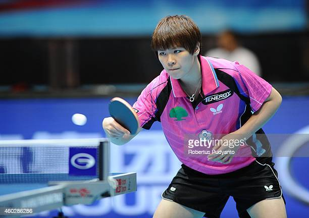 Chen SzuYu of Chinese Taipei in action during U21 Women's single group 1st round of the 2014 ITTF World Tour Grand Finals at Huamark Indoor Stadium...
