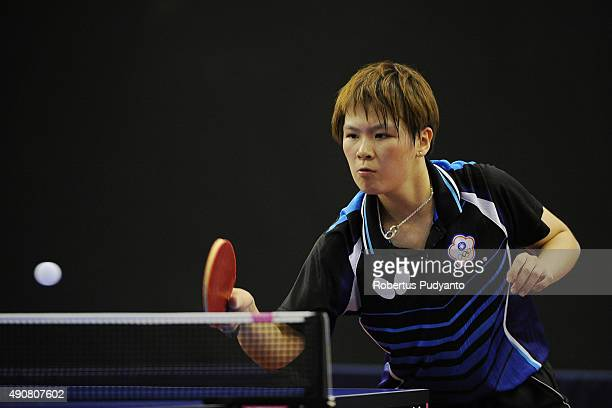 Chen SzuYu of Taipei competes against Chen Meng of China during Women's singles round 16 match of the 22nd 2015 ITTF Asian Table Tennis Championships...