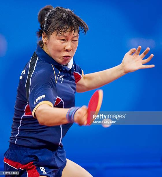 Chen Wang of the United States returns a shot against Kyung Ah Kim of Korea on Thursday August 21 in the Games of the XXIX Olympiad in Beijing China