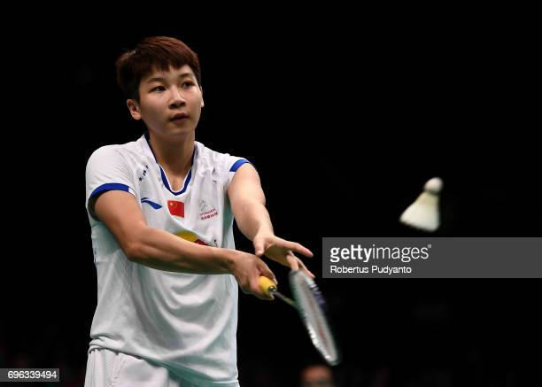 Chen Xiaoxin of China competes against Soniia Cheah of Malaysia during Womens Single Round 2 match of the BCA Indonesia Open 2017 at Plenary Hall...