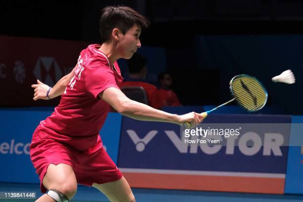Chen Xiaoxin of China in action on day one of the Badminton Malaysia Open at Axiata Arena on April 02 2019 in Kuala Lumpur Malaysia