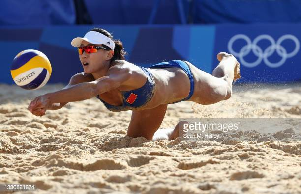 Chen Xue of Team China competes against Team Netherlands during the Women's Preliminary - Pool B beach volleyball on day four of the Tokyo 2020...