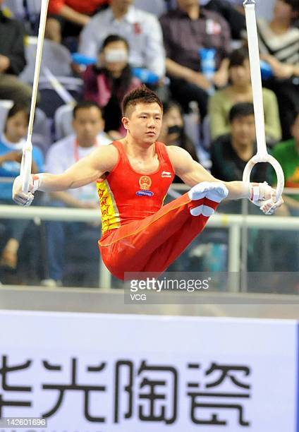 Chen Yibing of China competes on the Rings during the FIG World Cup Zibo 2012 at Zibo Sports Center on April 8 2012 in Zibo China