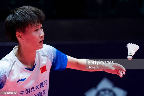 Chen Yu Fei of China in action during the match against He Bing Jiao of China on day 1 of the HSBC BWF World Tour Finals 2019 at Tianhe Sports Center...