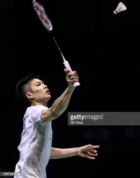 Chen Yufei of China reacts after a point in the Women's Singles semi finals match against Akane Yamaguchi of Japan on day four of the China Open at...