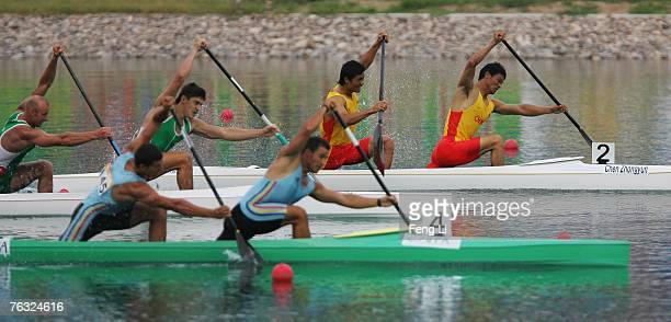 Chen Zhongyun and Zhang Zhiwu from China who win the silver medal of the men's 1000meter Canoe Double compete at the Canoe/Kayak Flatwater China Open...