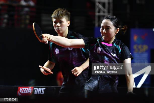 Chen ZsuYu and Cheng HsienTzu of Chinese Taipei compete against Ding Ning and Zhu Yuling of China during Women's Doubles quarterfinals match on day...